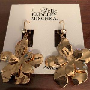 Badgley Mischka Gold Tone Flower Drop Earrings